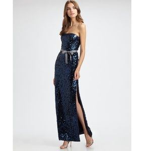 DRESS Blue Sequined Maxi Gown NWT LELA